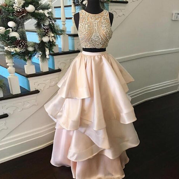 Youthful Pearl Pink Prom Dress - Two Piece Jewel Floor Length Tiered with Beading - Solodresses