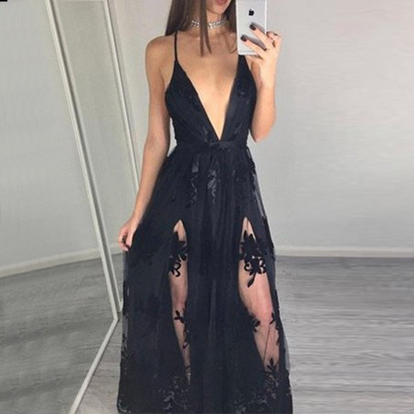 Hot Black Prom Dress - Deep V Neck Sleeveless Floor Length Illusion with Appliques - Solodresses