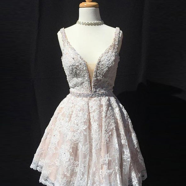 Deep V Neck Short Lace Prom Homecoming Dress - Pearl Pink Sleeveless with Beading - Solodresses
