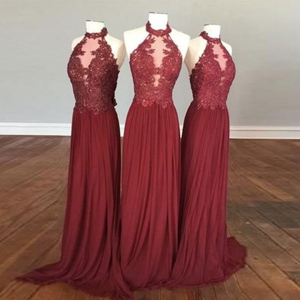 Burgundy Backless Prom Dress - Halter Sleeveless Sweep Train Pleated with Beading Appliques - Solodresses