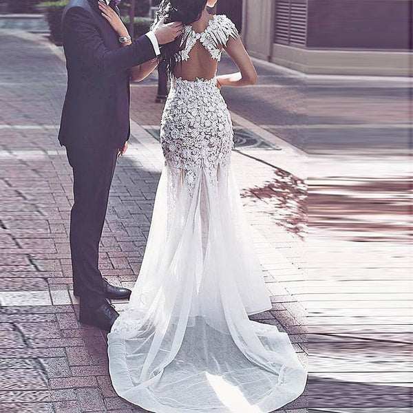 Mermaid Open Back Prom Dress - Jewel Cap Sleeves Illusion Sweep Train with Appliques Beading - Solodresses