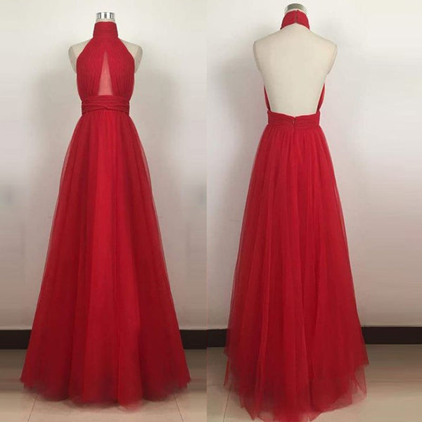 Red Backless Prom Dress - Halter Sleeveless Floor Length with Pleats - Solodresses