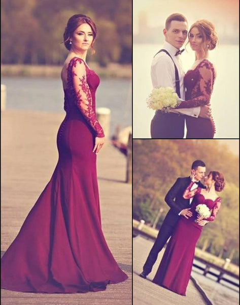 Burgundy Sweetheart Mermaid Prom/Evening Dress,Prom Dress with Sweep Train Appliques ,111043005 - Solodresses