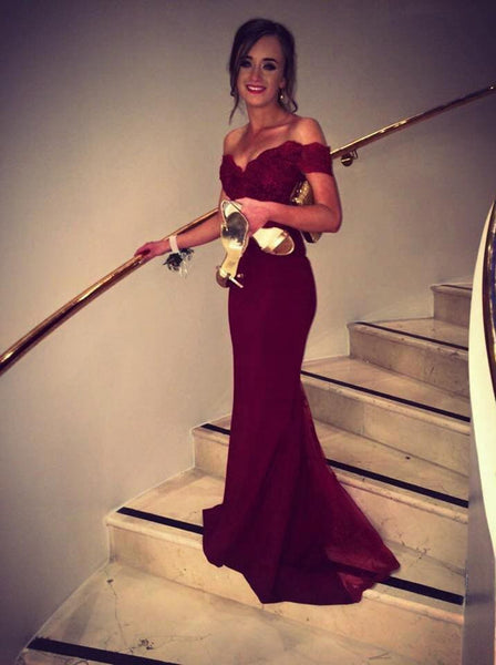 Chiffon Mermaid Prom Dress,Burgundy Off-the-Shoulder Sweep Train Lace Evening Dress,111043006 - Solodresses