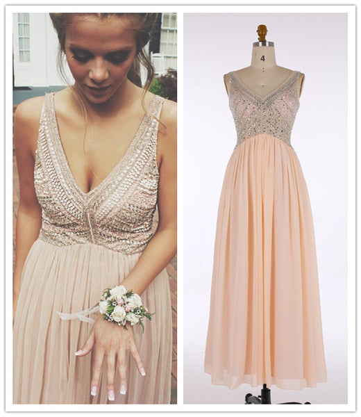 V-Neck Prom Dresses,Long Pink Evening Dress with Beading,Chiffon Prom Dress,Sleeveless Evening Dress,A Line Prom Dress,Maxi Dress - Solodresses