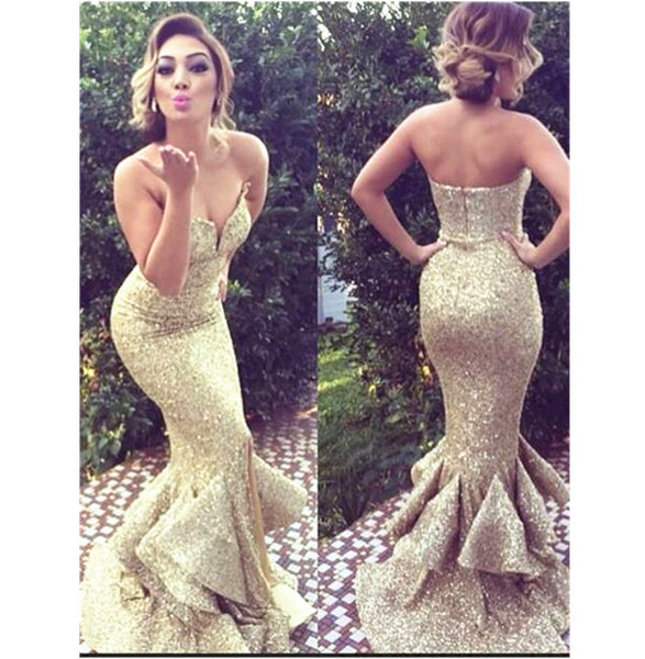 Mermaid Gold Sweetheart Sweep Train Sequins Prom/Evening Dress,Formal Long Dress,111043008 - Solodresses