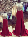 Burgundy Bateau Neck Backless Sweep Train Chiffon Beading Mermaid Prom/Evening Dress,111043009 - Solodresses