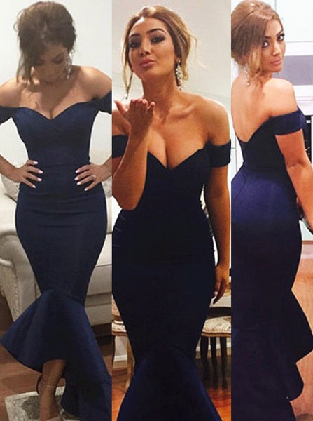 Mermaid Navy Blue Off-the-Shoulder Prom Dress,Satin Floor Length Ruched Evening Dresses,111043067 - Solodresses