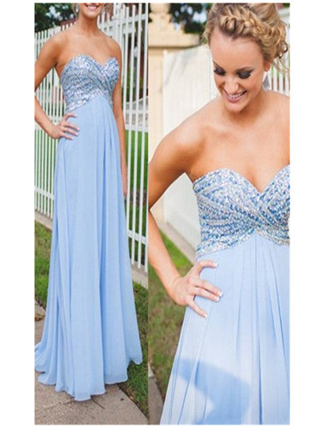 Gorgeous Prom Dress,A-Line Prom Dress,Sweetheart Floor Length Evening Dress,Blue Prom/Evening Dress,Chiffon Prom Dress with Beading,111043085 - Solodresses