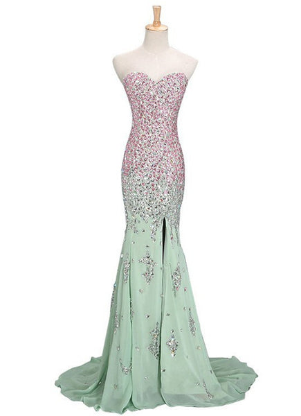 Mermaid Mint Sweetheart Sweep Train Chiffon Beading Prom Dress,Long Evening Dress,111043090 - Solodresses