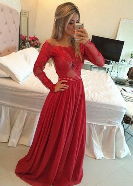 Timeless A-Line Off the Shoulder Long Red Chiffon Prom/Evening Dress with Long Sleeves,111043156 - Solodresses