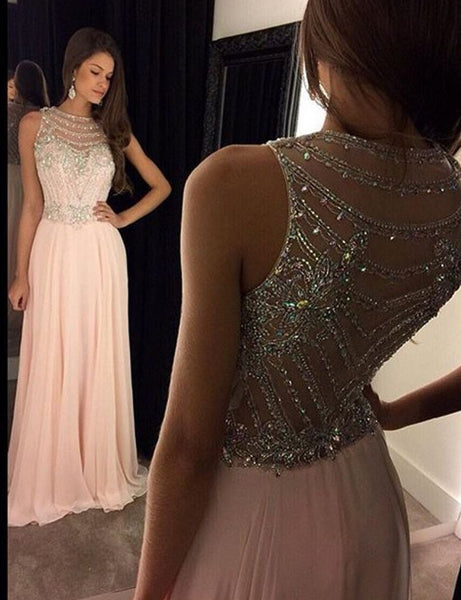 A-Line Scoop Prom Dress,Sleeveless Chiffon Pink Long Evening Dress With Crystal,111043176 - Solodresses