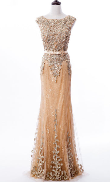 Mermaid Prom Dresses,Scoop Sweep Train Lace Prom Dress With Appliques,Beading Evening Dress,111043239 - Solodresses