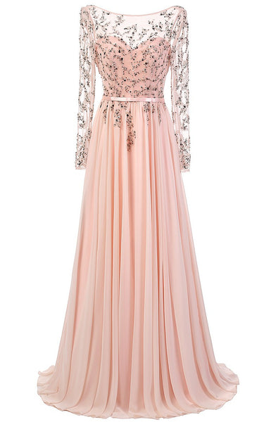 Elegant A-line Scoop Prom Dresses,Floor Length Pink Chiffon Prom/Evening Dress With Long Sleeves,111044024 - Solodresses