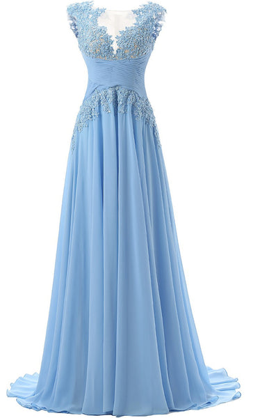 Fashion A-line Prom Dress,Scoop Sweep Train Chiffon Sleeveless Light Blue Prom/Evening Dress,111044037 - Solodresses
