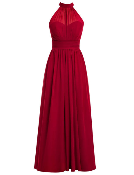 High Neck Evening Dress,Simple A-line Floor Length Burgundy Prom Dress With Ruffles,111044045 - Solodresses