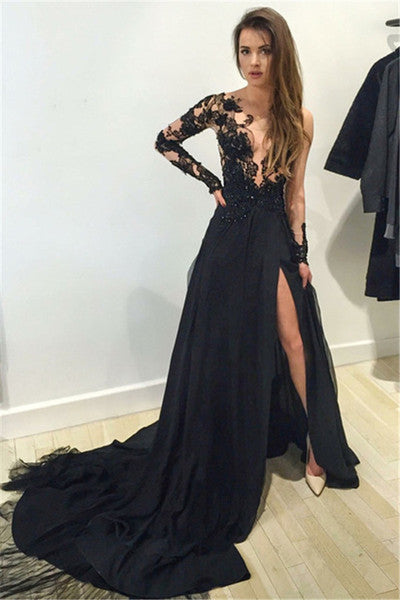 Mermaid Prom Dress,Black V-Neck Chiffon Sweep Train Evening Dress with Appliques,111043027 - Solodresses