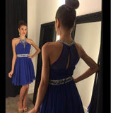 Halter Sweet Dresses,A-line Chiffon with Beaded Short Homecoming Dresses,Sweet Halter Dresses,Hot67 - Solodresses