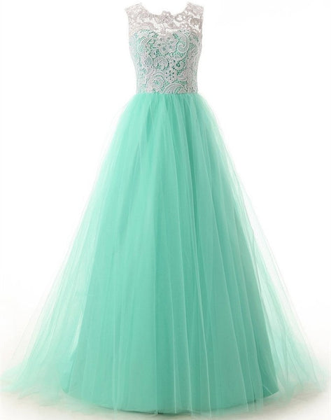 Elegant A-Line Prom Dress,Crew Neck Floor Length Mint Tulle Prom/Homecoming Dress with Lace,121043011 - Solodresses