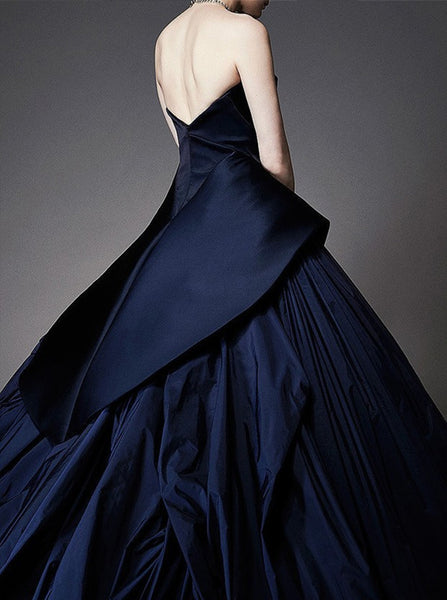 Gorgeous Ball Gown Prom Dress,Strapless Sweep Train Evening Dress,Navy Blue Satin Party Dress with Ruched,Sexy Formal Dress,121043078 - Solodresses
