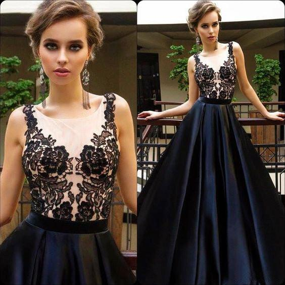 2018  Black Appliques Sexy See Through Long A-line Cheap Prom Dresses - Solodresses