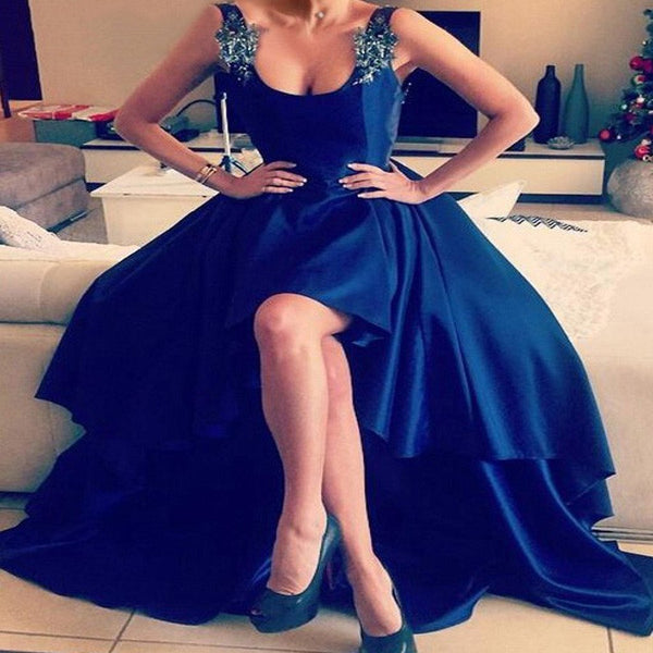 2018  Hi-low Strap Beaded Navy Backless Long Prom Dresses - Solodresses