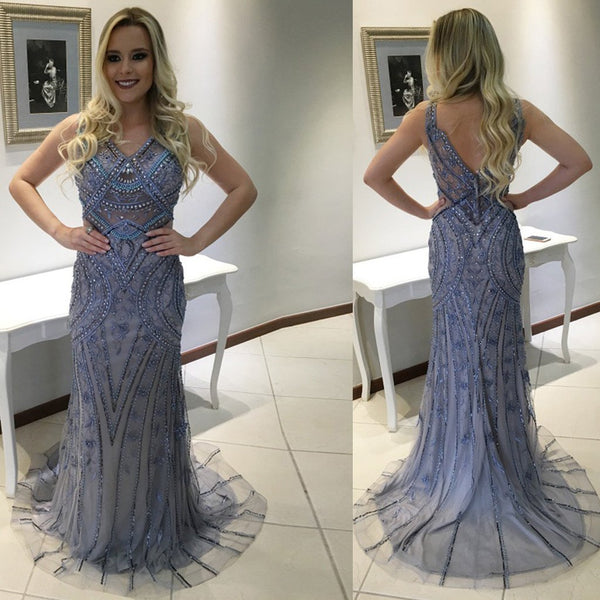 2018  Gorgeous V-Neck Rhinestone Beaded Long Mermaid Tulle Prom Dresses - Solodresses