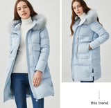 Hooded duck down raccoon fur large fur collar down jacket - Solodresses