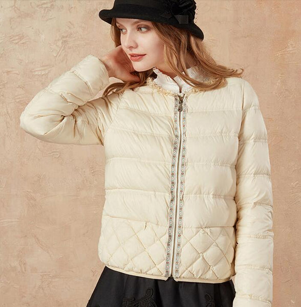 Duck down embroidery lace short down jacket womens - Solodresses