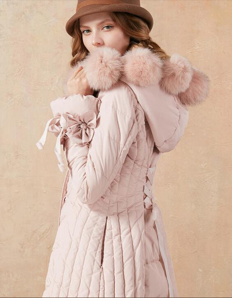 White duck down fox fur A line long down jacket - Solodresses