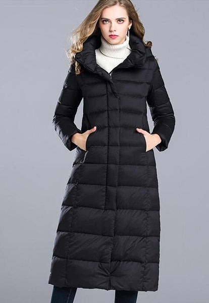 Hooded plus size thickening over knee down jacket coat - Solodresses