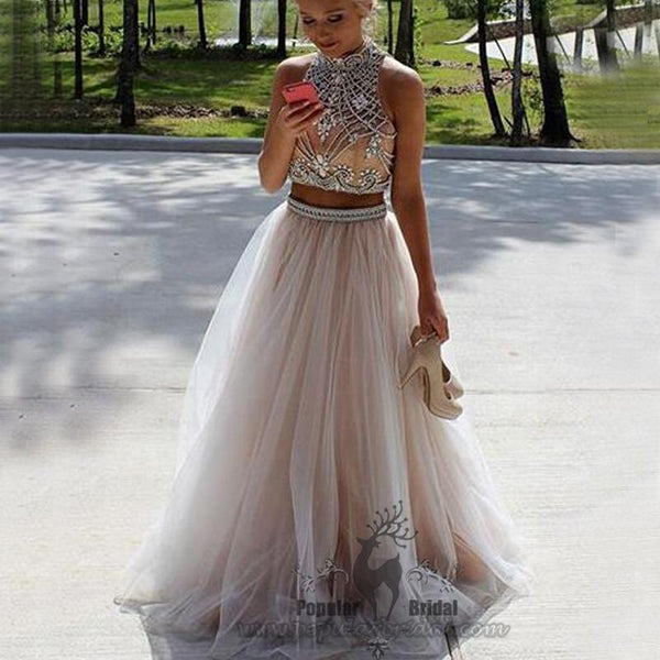 2 Pieces High Neck Rhinestone Beaded Long Tulle Prom Dresses, Prom Dresses - Solodresses