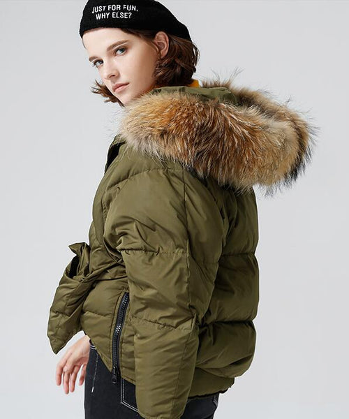 Fur collar thickening short loose down jacket womens - Solodresses