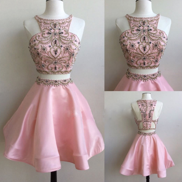 2 Pieces Pink Satin Rhinestone Beaded Gorgeous Detail Work Homecoming Dresses - Solodresses