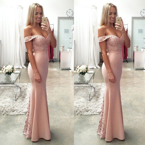 Blush Bridesmaid Prom Dress with Lace Top Off Shoulder Floor-Length - Solodresses