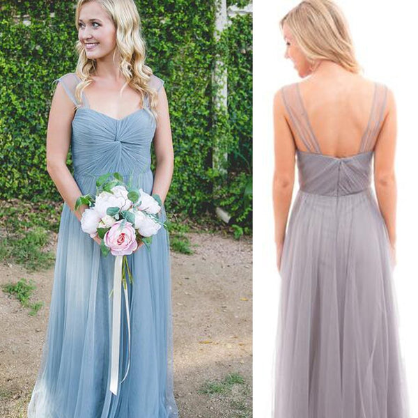 2018  Newest Style Strap Tulle A-line Wedding Guest Dresses, Cheap Bridesmaid Dresses - Solodresses