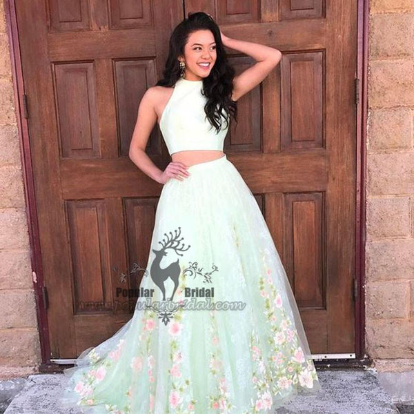 2 Pieces Mint Green Floral Tull Prom Dresses, Lovely Long Prom Dresses, Cheap Prom Dresses - Solodresses