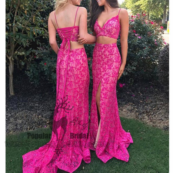 2 Pieces Hot Pink Lace Mermaid Side Slit Prom Dresses, Lace Up Prom Dresses - Solodresses
