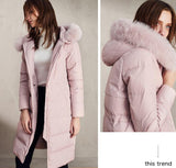 Hooded fox fur down jacket womens - Solodresses