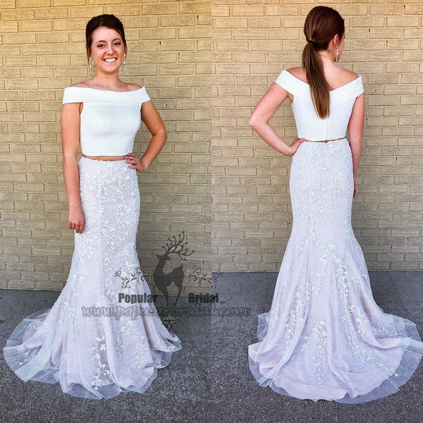 2 pieces Off Shoulder Satin Top Mermaid Lace Prom Dresses, Popular Prom Dresses - Solodresses