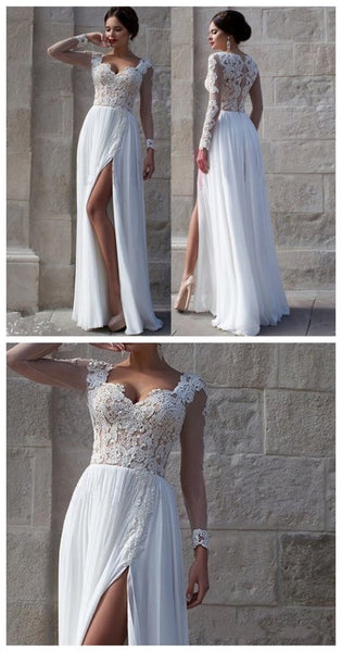 White Prom Dresses, Side Slit Prom Dresses,Elegant Prom Dresses,Custom Prom Dresses,Cheap Wedding Dresses,Party Prom Dresses,Prom Dresses Online - Solodresses