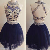 2 Pieces High Neck Lace Beaded Navy Tulle Cute Cheap Homecoming Dresses - Solodresses