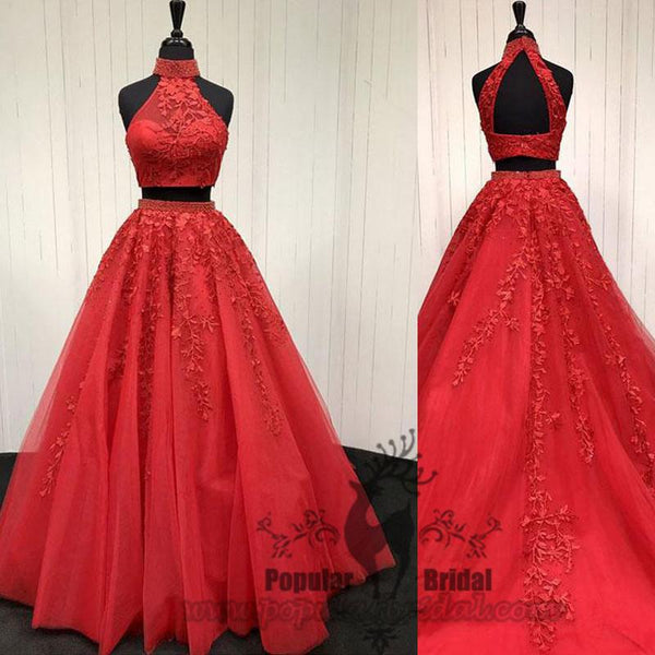 2 Pieces Red Lace Tulle Prom Dresses, A-line Popular Prom Gown, Cheap Prom Dresses - Solodresses