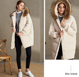 Hooded raccoon fur collar loose down jacket white duck down - Solodresses
