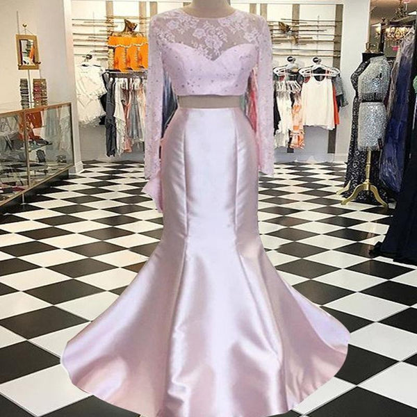 2 pieces Soft Pink Lace Beaded Mermaid Satin Prom Dresses, See Through Prom Dresses - Solodresses