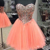 Sweetheart Neck A-line Strapless Rhinestone Beaded Blush Pink Tulle Homecoming Dresses,Hot 32 - Solodresses