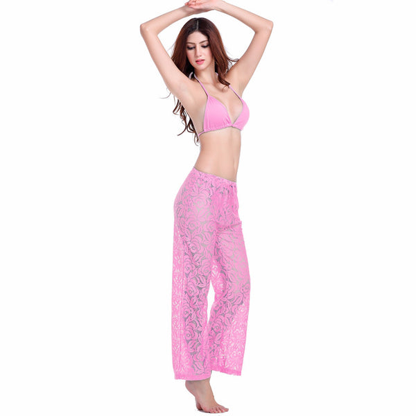 Sexy Transparent Casual Loose Pattern Long Lace Pant 4 Colors Pink - Solodresses