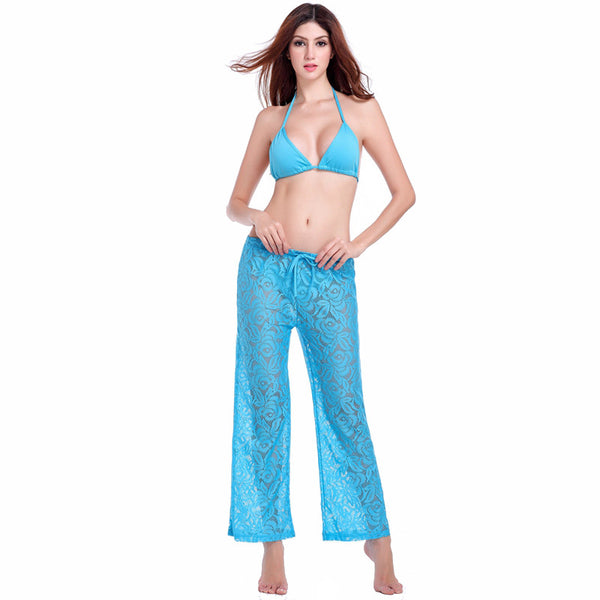 Sexy Transparent Casual Loose Pattern Long Lace Pant 4 Colors Blue - Solodresses