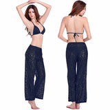 Sexy Transparent Casual Loose Pattern Long Lace Pant 4 Colors Black - Solodresses