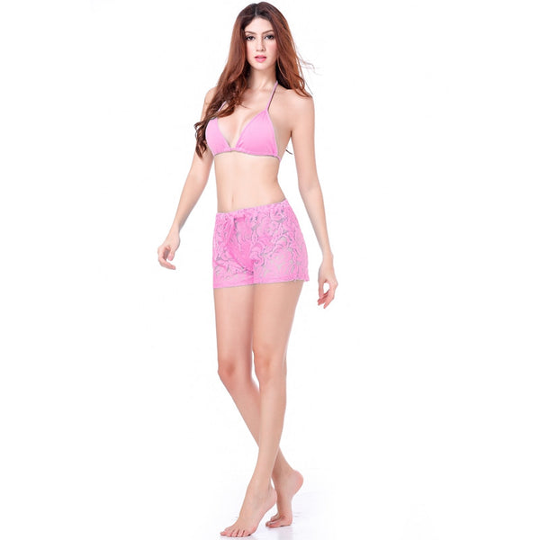 Leisure Loose Pattern Floral Design Adjustable Tie Lace Short Pants Pink - Solodresses